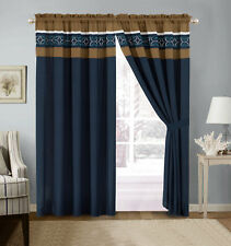 4-Pc Jaden Medallion Clover Embroidery Curtain Set Navy Blue White Taupe Sheer