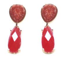 Damelza - Dual Russian Red & Light Orange Stone/golden Droplet Earrings(Ns19)