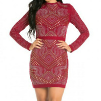 Womens Wine Red Quilted Rhinestone Long Sleeve Casual Bodycon Party Dress S M L