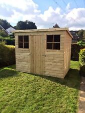10x4 GARDEN PENT SHED TANALISED T&G WOODEN STORE HUT WITH GEORGIAN WINDOWS