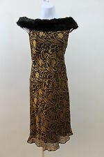 NANETTE LEPORE BROWN GOLD FAUX FUR COLLAR SHEER SILK COCKTAIL PARTY DRESS SMALL