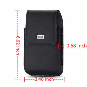 Reiko Black Vertical Leather Canvas Belt Clip Case Pouch for Large Cell Phone