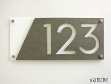 Modern House Numbers, Concrete & White Acrylic - Sign Plaque - Home Address