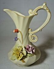 Small Vintage China Capodimonte Style Pitcher Vase with 3D Sculpted Flowers
