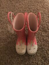 New Toddler Girls Carters Sz 6 Cassidyr Boots Pink And White