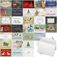 30 Weihnachtskarten Set 30 Motive u. Umschlag Weihnachten pastellfarben Mix