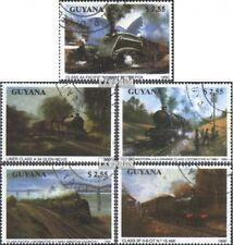 Guyana 3170-3174 gestempeld 1990 Stoomlocomotieven
