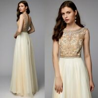 Beads Boat Neck Chiffon Prom Dresses Long Formal Ball Party Pageant Evening Gown