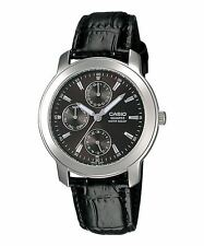 Casio Leather Strap Watch Day Date RRP £50 - MTP1192E-1A