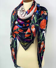 NWT ALEXANDER MCQUEEN Mythical Creature Navy Red Floral Silk Square Scarf $525