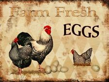"Farm Fresh Eggs Retro Vintage Tin Bar Sign Country Home Decor 13"" x 10"""