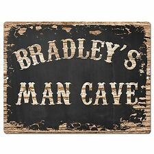 PP1876 BRADLEY'S MAN CAVE Plate Chic Sign Home Room Garage Decor Birthday Gift