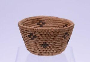 """Antique Paiute Basket with crosses. 2"""" x 3 3/8"""" d"""
