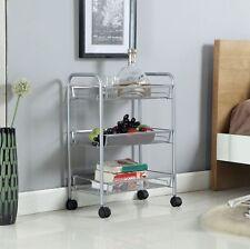 Silver 3 Tier Mesh Rolling Cart Trolley Storage Rack Wheel for Kitchen Bathroom