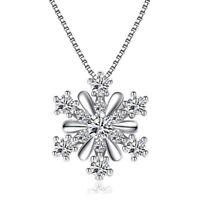 925er Silber Schmuck AAA Zirkonia Schneeflocke Anhänger Halskette # Que Popular