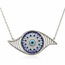 Evil Eye Round Charm Greek Mati Turkish Nazar Hamsa 925 Sterling Silver Necklace
