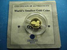 GEORGE WASHINGTON PRESIDENT 2000 LIBERIA .73 GRAMS 999 GOLD $25 COIN COA RARE J5