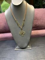 """Signed Xc Bohemian Statement Necklace Drop Pendant Brass Brown Leather Chain 18"""""""