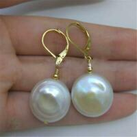 14-15mm white Baroque pearl Earrings creamy classics gold plating grace party
