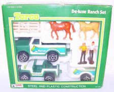 TORCO Green Grass FORD BRONCO Pick-Up HORSE TRAILER Pressed Steel Car Set MIB`81