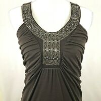 Vanity Brown New with Tags Sleeveless Embellished Beaded Neckline Top Size M