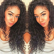 Fashion Women Lace Front Hair Full Soft Silky Wigs Natural Black deep wave curly