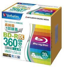 20pack VERBATIM DVD BLU RAY BD-R DL 50 GB 4x Velocità Disco Blu-ray Stampabile Giappone