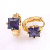 18K Gold Plated Unisex Cushion Cut Simulated Diamond Small Huggie Hoop Earrings