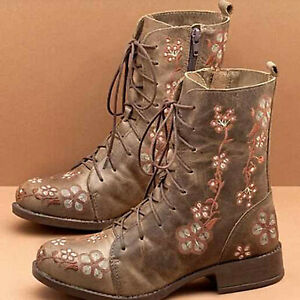 Womens Chunky Low Heel Combat Boots Retro Floral Ankle Boots Lace Up Party Shoes