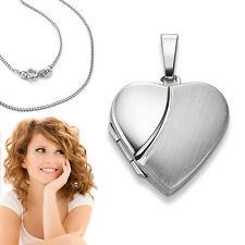 Weißgold 375 Herz Medaillon für 2 Fotos Bilder Amulett Anhänger mit Silber Kette