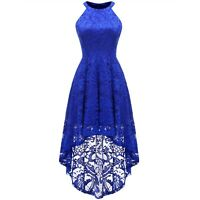 Women Halter Floral Lace High Low Cocktail Party Dress Sleeveless Formal Prom