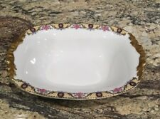 "ANTIQUE JEAN POUYAT JPL LIMOGES 10 1/8""L Oval Serving Bowl Roses N Lattice Ptn"