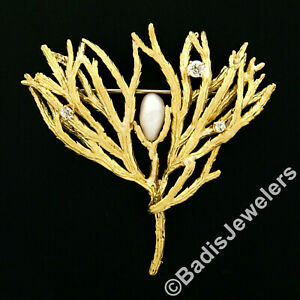 Vintage Large 18k Gold 0.35ctw Diamond & Freshwater Pearl Textured Plant Brooch