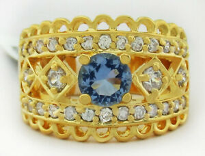 TANZANITE & WHITE SAPPHIRE RING 14K YELLOW GOLD PLATED * NEW WITH TAG * Size 5.5