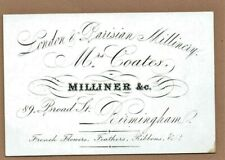 Mrs Coates, Milliner of Birmingham - Beautiful 1870 Business Card