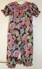 New  Southern Tots Smocked Colorful Paisley Longall / Romper ~ Girl's Sz 3T