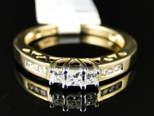 14K Yellow Gold Ladies 3 Stone Princess Diamond Engagement Wedding Band Ring
