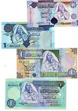 LOT 4 BILLETS Libye Libya 1 DINAR GADAFFI  SERIE 4 / 5 / 6 & 7 NEUF UNC
