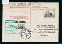 61650) LH FF Las Palmas Spanien - Frankfurt 1.12.63, DDR Antwortkarte
