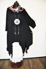 Designer-Lagenlook°raffinierte Zipfel-Tunika°raben-schwarz°OVERSIZE°XXL,XXXL,
