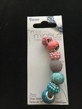 Darice Mix and Mingle Glass Metal Lined Beads 7 Pieces Pink/Blue/Purple