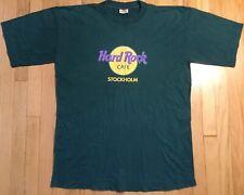Vintage 90s Hard Rock Cafe Stockholm Sweden t shirt XL green retro cracked
