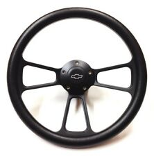 "Chevrolet Monte Carlo 14"" Black on Black Steering Wheel + Chevy Horn + Adapter"