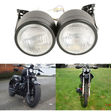 Dual Twin Front Headlights & Bracket For Harley Street Fighter Dirt Bikes Naked