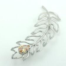 14k white Gold GF flower Diamond simulant brooch pin with Swarovski crystals