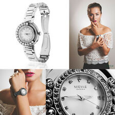 18K White Gold Plated Water Resistant Luxury Watch w/Genuine Crystals by Matashi