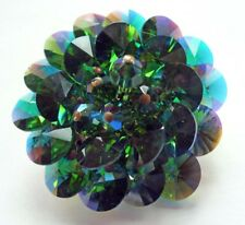BUY1&GET1@50%~PIN Rivioli AB RhinestoneEmerald Glass HandWired Vtg 60s Brooch