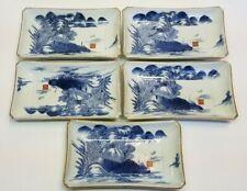 Antique Japanese Arita Hizen Blue & White Porcelain Set Dishes Qianlong Ken Edo