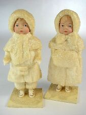 Vintage Elaine Roesle SNOW CHILDREN 1992 Brother& Sister Matched Pair - Perfect