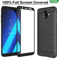Samsung J6 + Case Armor Cover + Tempered Glass Film For Samsung Galaxy J6 Plus